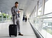 Businessmen Walk Call Phone Luggage Business Trip poster