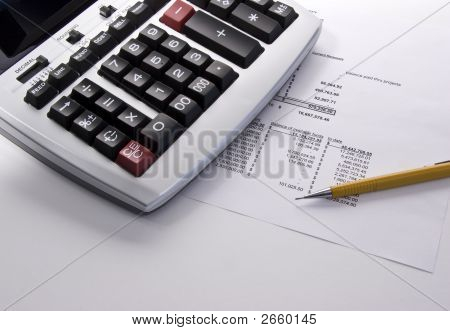 Calculator, Pencil And Statement