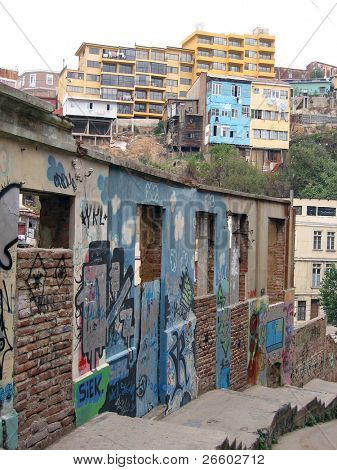 Jungle of a city slum. Valparaiso, Chile