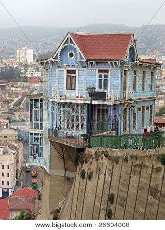 Famous hillside house in Valparaiso, Chile