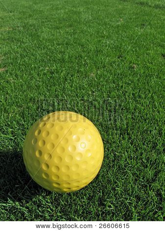 Yellow golf ball on the grass