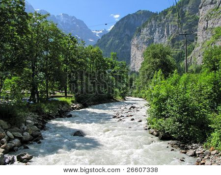 Mountain river in Muerren, Switzerland