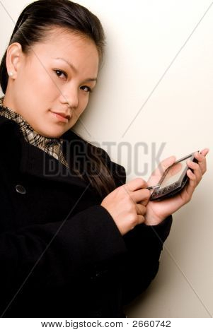 Female Entering Data Into Pda - Technology Series