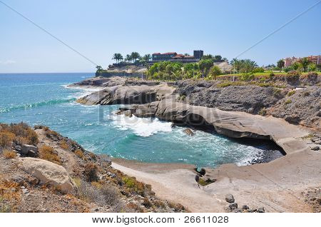 Rocky coast of Costa Adeje.Tenerife island, Canaries