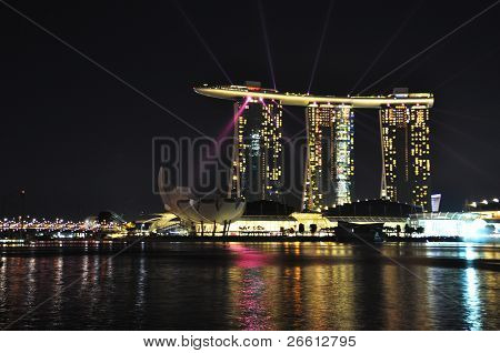 SINGAPORE - FEBRUARY 26: Marina Bay Sands hotel on Feb 26, 2011 in Singapore. Wonderful show is the largest light and water spectacle in Southeast Asia