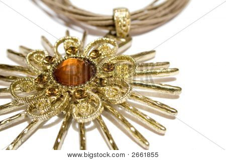 Star Pendant With Jewerly On Isolated Background