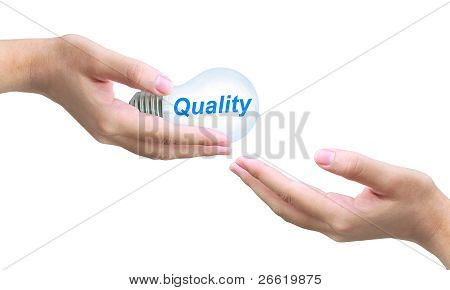 sending quality light bulb on women hand