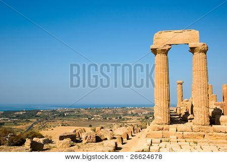 dorics columns and panorama of Valley Of Temples in Agrigento