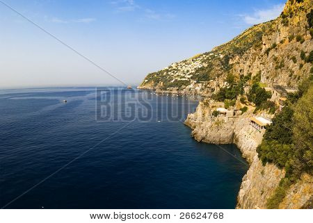 Panorama on the sea and the home of villages of coast of Amalfi
