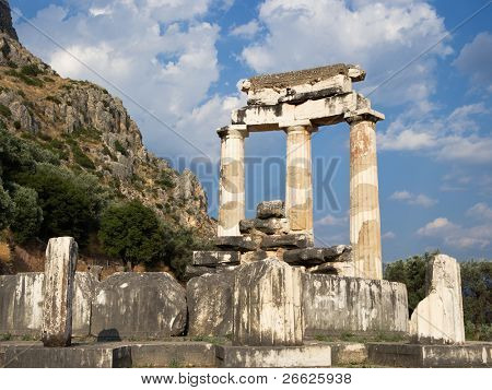 columns greek at Delphi Tholos of temples circular of Sanctuary of Athena Pronaia of oracle delphic, Greece