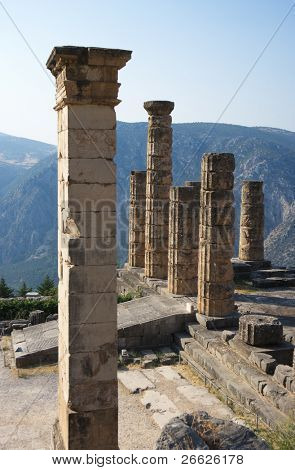 Temple of Apollo of Sanctuary of Apollo in oracle Delphi, Greece.