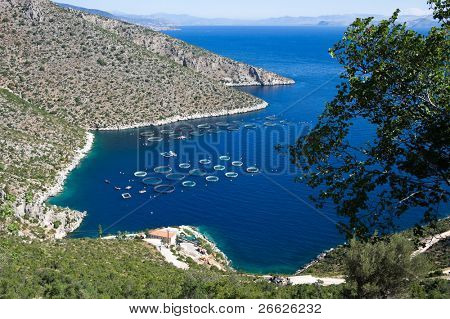 Fisheries in blue sea of Peloponnese, Greece