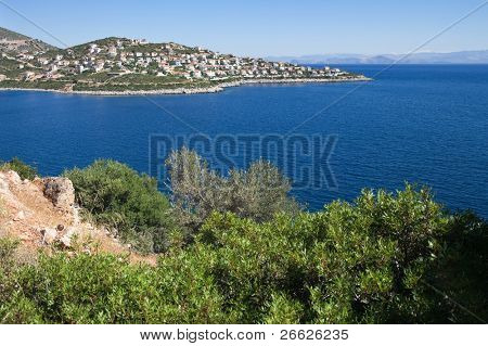 Settlement of new houses on coast of Argolis, Greece