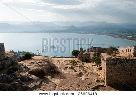 aerial view of bay of Nauplion with castle of Bourtzi on small island from the ruins of fortress of Palamidi