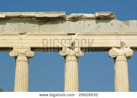 front view of ionic capitals of temple Erechtheum in Acropolis, Athens