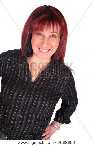 Middleaged Woman In Black Dress Close-Up