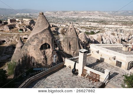 fairy chimneys on the valley of Cappadocia from Uchisar, Turkey