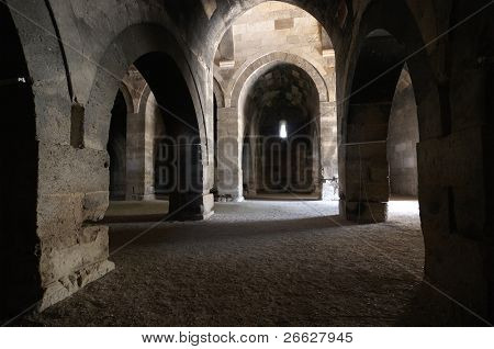 multiple arches and columns of stable (ahir) in the Sultanhani caravansary on the Silk Road, Turkey