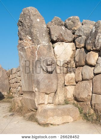 the Lions Gate (Aslanli Kapi) with high relief of lion in excavations at Hattusha, Turkey