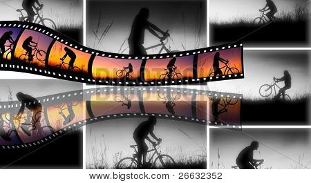 Film stripes with man silhouette in sunset