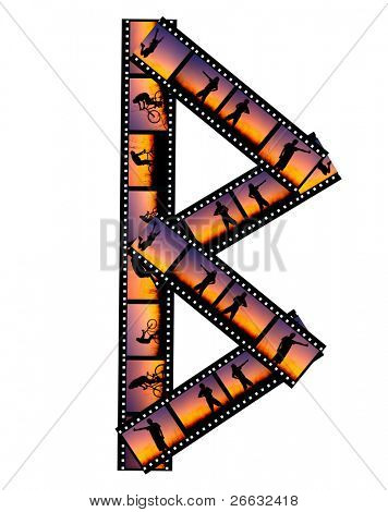 "Letter ""B"" made of film stripes with man silhouette in sunset"