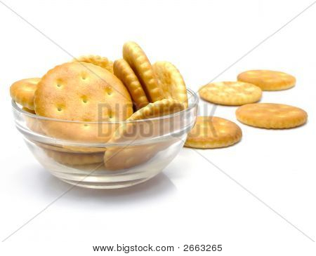 Salt Crackers Food In The Glass Vase Isolated