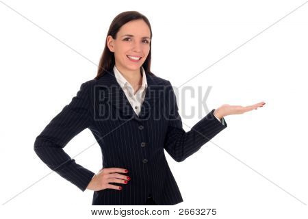 Businesswoman Introducing Something