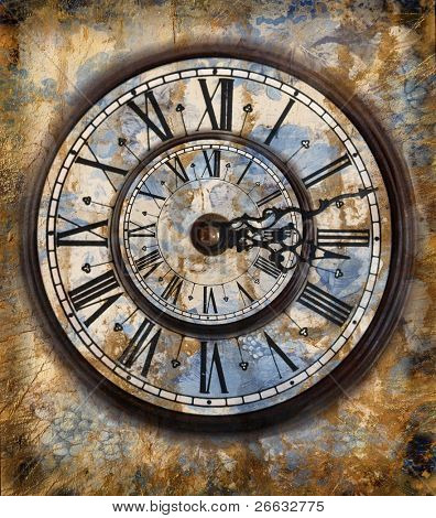 Grunge background with clock-face