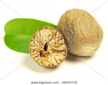 Nutmeg on white background