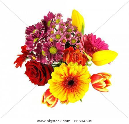 Beautiful flowers bouquet isolated on white background