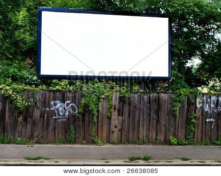 Large blank billboard on a street