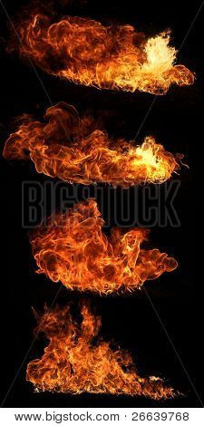 High resolution fire collection of isolated flames on black background