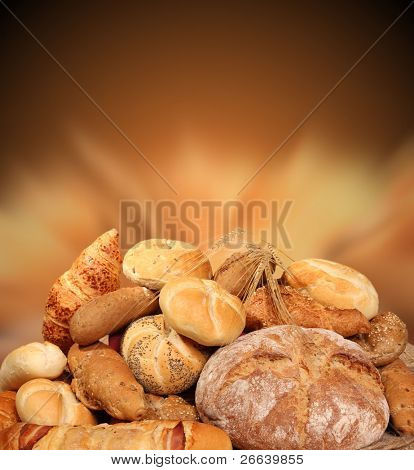 Various kinds of pastry with shiny blur background