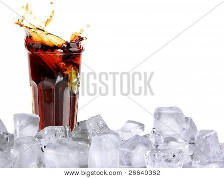 Splashing cola with ice cubes, isolated on white background