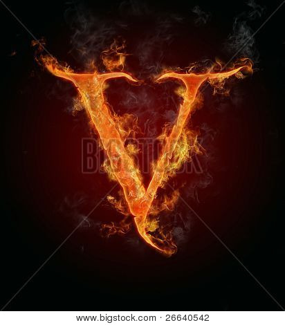 "Fire flaming letter ""V"""