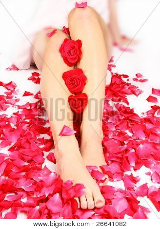 Sexy woman legs with rose petals