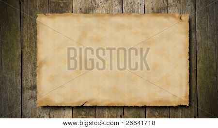 Grunge blank paper on wooden background