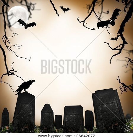 horror scene with cemetery, raven and bats silhouettes