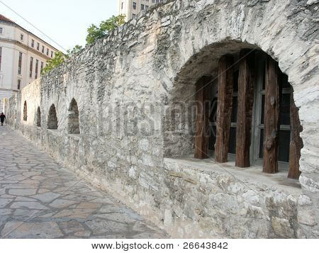 The Alamo wall with windows