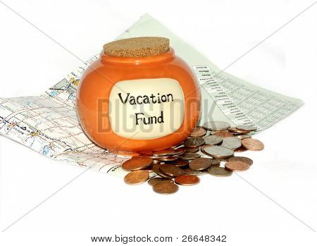 Vacation fund jar with a map and loose change