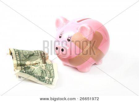 Cofrinho ferido com Dólar