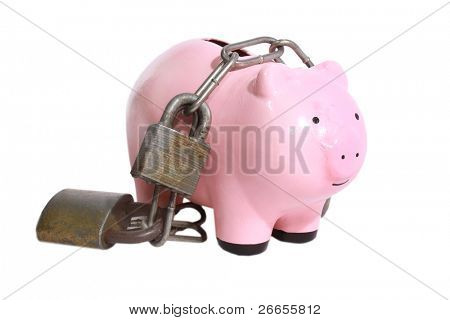 Piggy bank burdened with locks