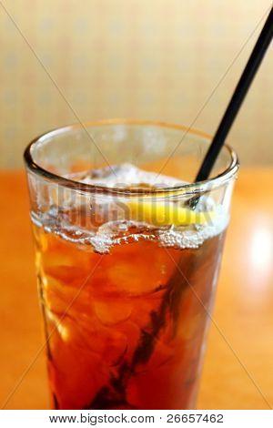 Glass of tea with peach