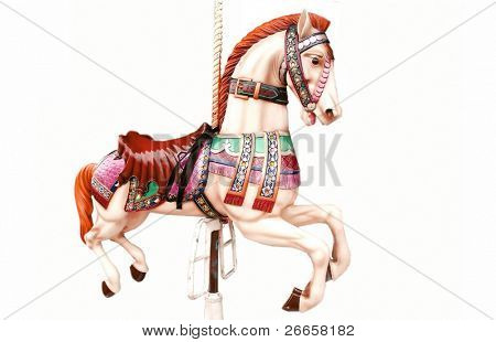 Horse ride isolated on white