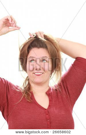 Woman with messy hair or lice