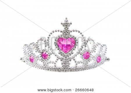 Tiara with pink stones on white