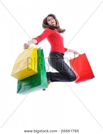 schöne Frau Einkaufstaschen in ihren Händen