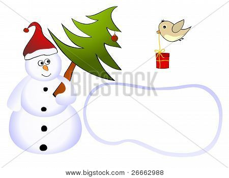 Snowman with tree and a bird with a gift