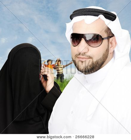 muslim arabic  family outdoor