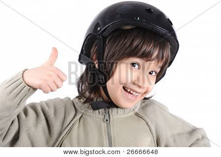 Child hockey player with helmet on head smiling